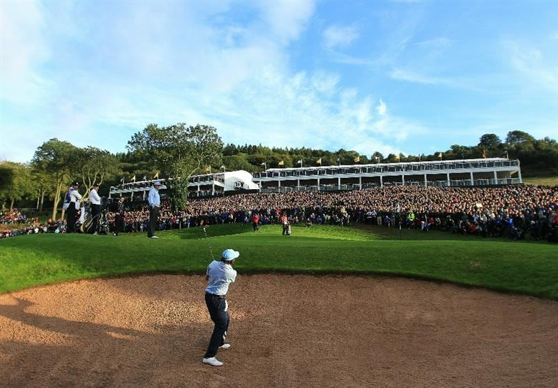 NEWPORT, WALES - OCTOBER 03:  Rickie Fowler of the USA hits his 2nd shot on the 17th hole during the  Fourball & Foursome Matches during the 2010 Ryder Cup at the Celtic Manor Resort on October 3, 2010 in Newport, Wales. (Photo by David Cannon/Getty Images)