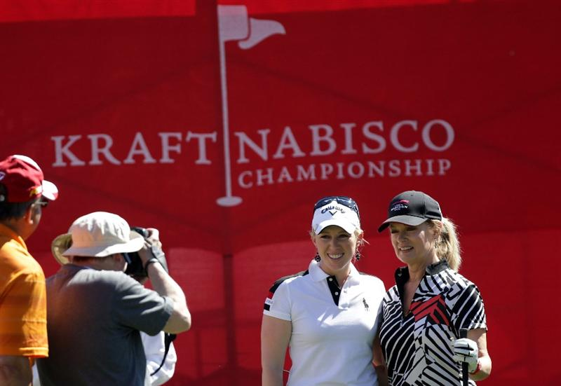 RANCHO MIRAGE, CA - MARCH 30: Morgan Pressel of the USA and Mary Hart have their picture taken on the 1st tee during the pro-am for the 2011 Kraft Nabisco Championship on the Dinah Shore Championship Course at the Mission Hills Country Club on March 30, 2011 in Rancho Mirage, California.  (Photo by David Cannon/Getty Images)