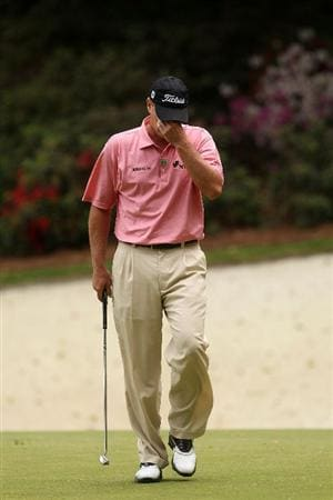 AUGUSTA, GA - APRIL 08:  Steve Stricker reacts on the 13th green during the first round of the 2010 Masters Tournament at Augusta National Golf Club on April 8, 2010 in Augusta, Georgia.  (Photo by Andrew Redington/Getty Images)