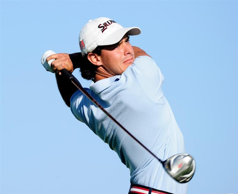 MALLORCA, SPAIN - MAY 13:  Borja Etchart of Spain plays his tee shot on the 17th hole during the first round of the Open Cala Millor Mallorca at Pula golf club on May 13, 2010 in Mallorca, Spain.  (Photo by Stuart Franklin/Getty Images)