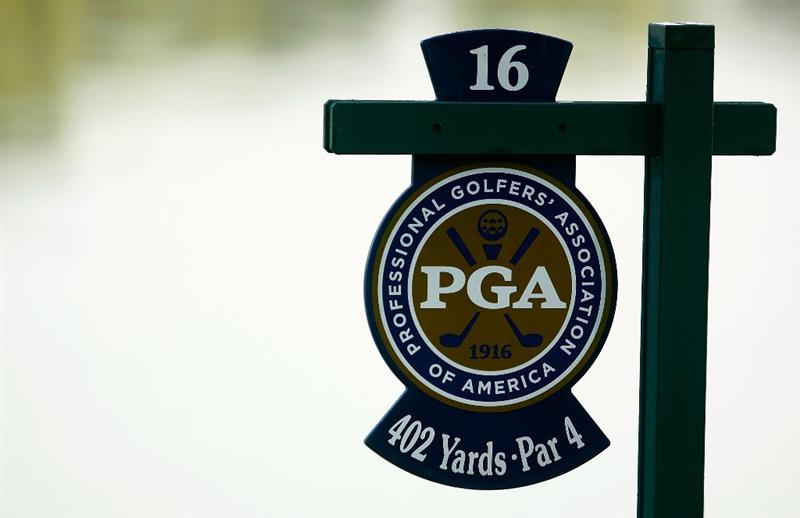 CHASKA, MN - AUGUST 11:  The tee sign hangs on the 16th hole during the second preview day of the 91st PGA Championship at Hazeltine Golf Club on August 11, 2009 in Chaska, Minnesota.  (Photo by Scott Halleran/Getty Images)