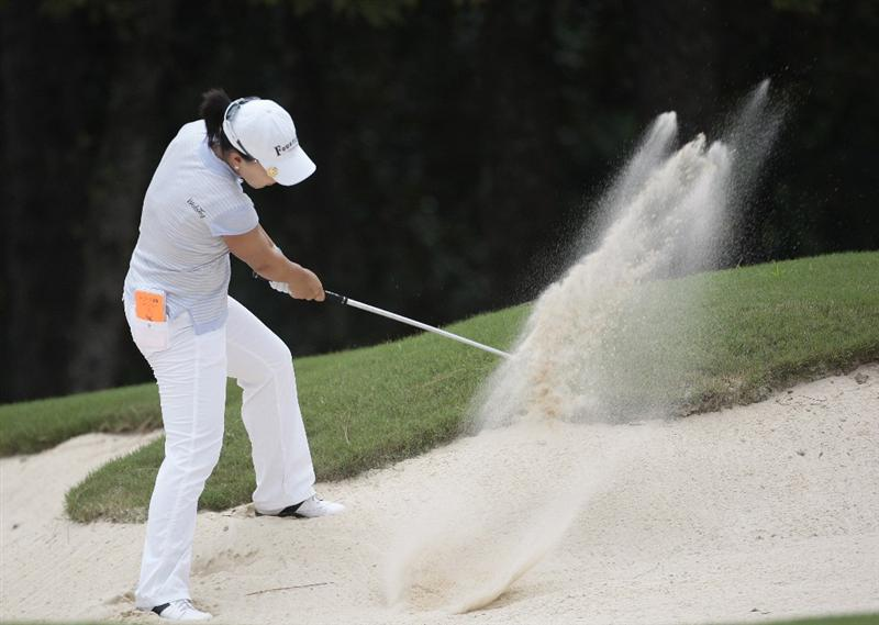 MOBILE, AL - SEPTEMBER 11:  Su A Kim of South Korea hits from the sand on the during first round play in the Bell Micro LPGA Classic at Magnolia Grove Golf Course on September 11, 2008 in Mobile, Alabama.  (Photo by Dave Martin/Getty Images)