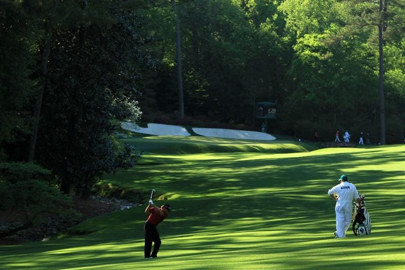 AUGUSTA, GA - APRIL 09:  Retief Goosen of South Africa hits his second shot on the 13th hole during the second round of the 2010 Masters Tournament at Augusta National Golf Club on April 9, 2010 in Augusta, Georgia.  (Photo by David Cannon/Getty Images)