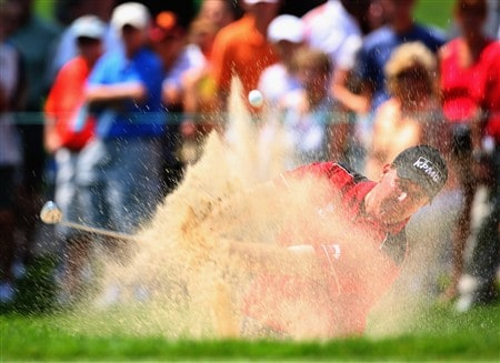 AKRON, OH - AUGUST 01:  Phil Mickelson of USA plays his bunker shot on the nineth hole during second round of the World Golf Championship Bridgestone Invitational on August 1, 2008 at Firestone Country Club in Akron, Ohio.  (Photo by Stuart Franklin/Getty Images)
