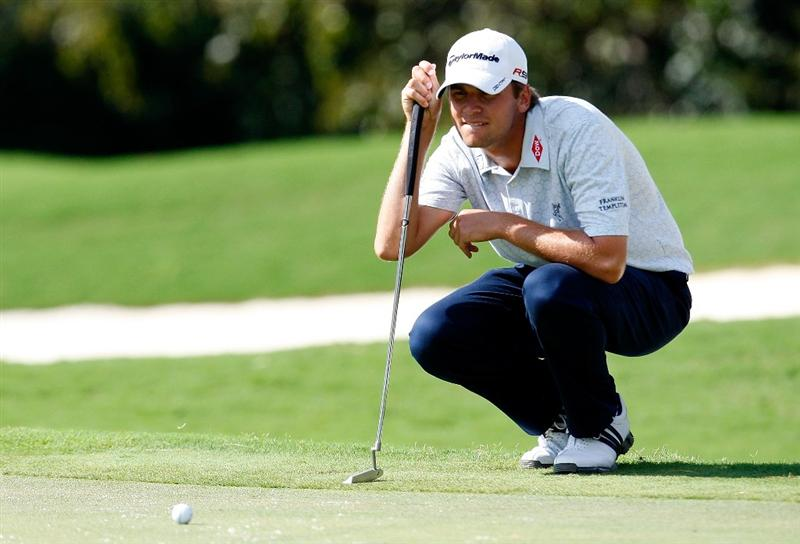 ATLANTA, GEORGIA - SEPTEMBER 27:  Sean O'Hair lines up his birdie putt on the 10th green during the final round of THE TOUR Championship presented by Coca-Cola, the final event of the PGA TOUR Playoffs for the FedExCup, at East Lake Golf Club on September 27, 2009 in Atlanta, Georgia.  (Photo by Kevin C. Cox/Getty Images)