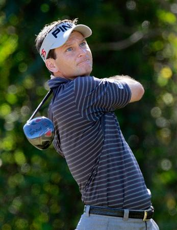 LAKE BUENA VISTA, FL - NOVEMBER 13:  Mark Wilson plays a shot on the 4th hole during the third round of the Children's Miracle Network Classic at the Disney Palm and Magnolia course on November 13, 2010 in Lake Buena Vista, Florida.  (Photo by Sam Greenwood/Getty Images)