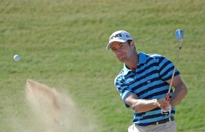 Mark Hensby blasts out of the greenside bunker on the 15th hole during the third round of the Fry's Electronics Open on October 20, 2007 at the Grayhawk Golf Club in Scottsdale, Arizona PGA TOUR - 2007 Frys Electronics Open - Third RoundPhoto by Marc Feldman/WireImage.com