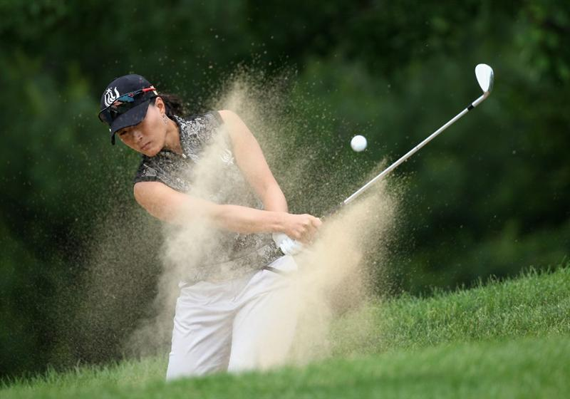 SPRINGFIELD, IL - JUNE 07:  Se Ri Pak of South Korea hits out of the bunker onto the first hole green during the fourth round of the LPGA State Farm Classic golf tournament at Panther Creek Country Club on June 7, 2009 in Springfield, Illinois.  (Photo by Christian Petersen/Getty Images)