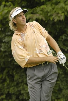 Pat Bates watches his tee shot on the second hole during the second round of the Nationwide Tour Xerox Classic in Rochester, New York, Thursday, August 19, 2005.Photo by Kevin Rivoli/WireImage.com