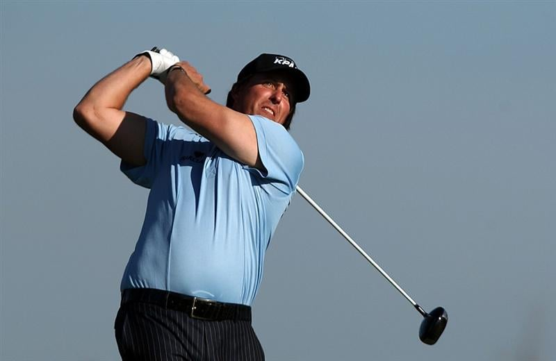 LA JOLLA, CA - JANUARY 30:  Phil Mickelson tees off the 2nd hole during the third round of the 2010 Farmers Insurance Open on January 30, 2010 at Torrey Pines Golf Course in La Jolla, California. (Photo by Donald Miralle/Getty Images)