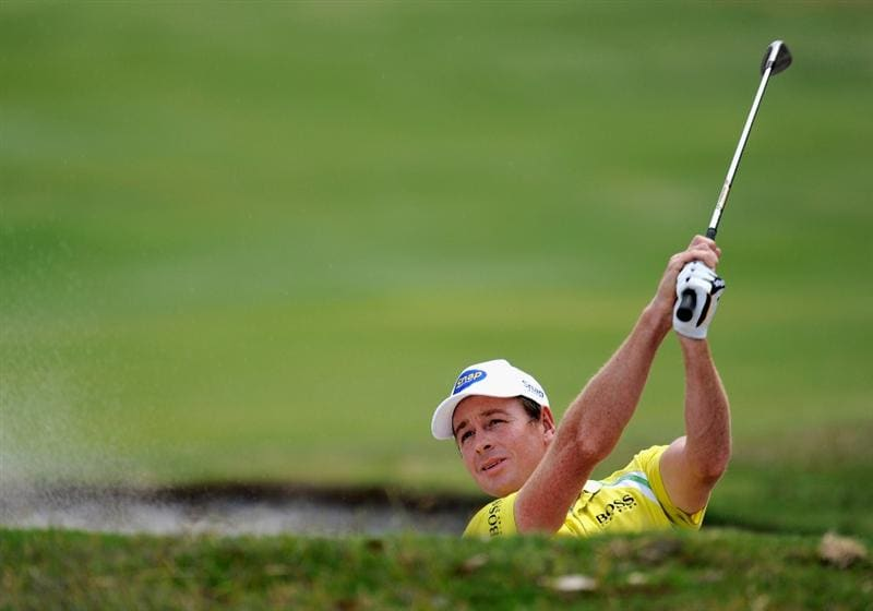 MELBOURNE, AUSTRALIA - NOVEMBER 27: Brett Rumford of Australia plays out of a bunker during the first round of the 2008 Australian Masters at Huntingdale Golf Club on November 27, 2008 in Melbourne, Australia  (Photo by Robert Cianflone/Getty Images)