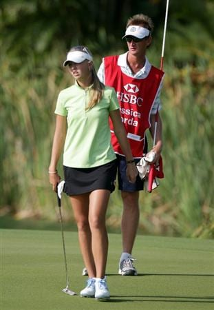 SINGAPORE - FEBRUARY 24:  Jessica Korda of the USA and her father who is also her caddie, former tennis star Petr Korda during the first round of the HSBC Women's Champions at Tanah Merah Country Club  on February 24, 2011 in Singapore, Singapore.  (Photo by Ross Kinnaird/Getty Images)