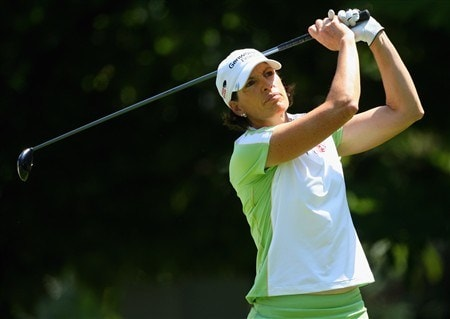 EVIAN, FRANCE - JULY 27:  Juli Inkster of the USA hits her tee-shot on the fifth hole during the final round of the Evian Masters at the Evian Masters Golf Club on July 27, 2008 in Evian, France.  (Photo by Andrew Redington/Getty Images)