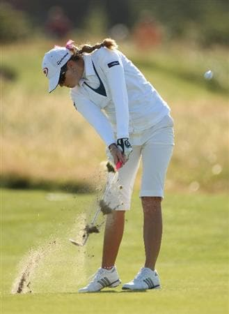 LYTHAM ST ANNES, ENGLAND - JULY 30:  Paula Creamer of USA hits her second shot on the 16th hole during the first round of the 2009 Ricoh Women's British Open Championship held at Royal Lytham St Annes Golf Club, on July 30, 2009 in  Lytham St Annes, England.  (Photo by Warren Little/Getty Images)