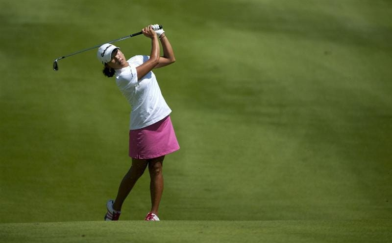 ROGERS, AR - SEPTEMBER 11:  Seon Hwa Lee of South Korea makes an approach shot on the 18th hole during the second round of the P&G NW Arkansas Championship at the Pinnacle Country Club on September 11, 2010 in Rogers, Arkansas.  (Photo by Robert Laberge/Getty Images)