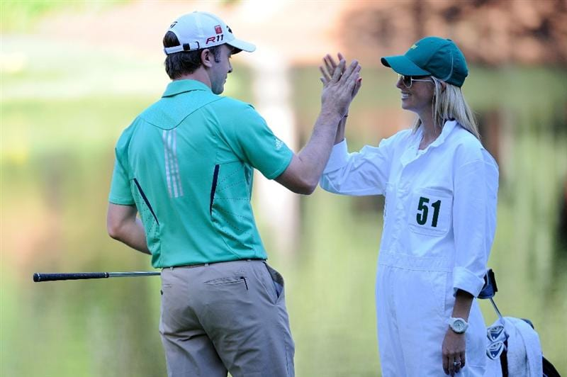AUGUSTA, GA - APRIL 06:  Martin Laird of Scotland waits with his caddie Meagan Franks during the Par 3 Contest prior to the 2011 Masters Tournament at Augusta National Golf Club on April 6, 2011 in Augusta, Georgia.  (Photo by Harry How/Getty Images)