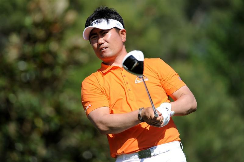 AUGUSTA, GA - APRIL 07:  Y.E. Yang of South Korea watches his tee shot on the 15th tee during the first round of the 2011 Masters Tournament at Augusta National Golf Club on April 7, 2011 in Augusta, Georgia.  (Photo by Harry How/Getty Images)