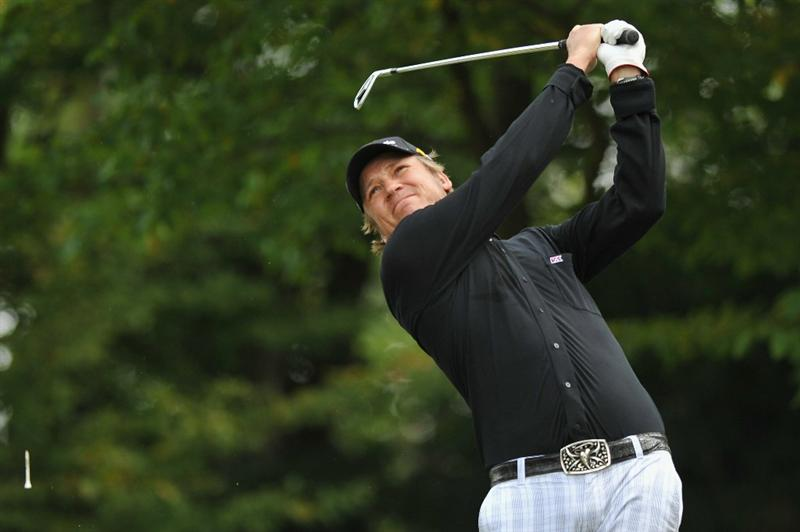 PARIS - SEPTEMBER 23:  Jarmo Sandelin of Sweden plays his tee shot on the 2nd hole during day one of the Vivendi Cup at Joyenval golf course on September 23, 2010 in Paris, France.  (Photo by Pascal Le Segretain/Getty Images)