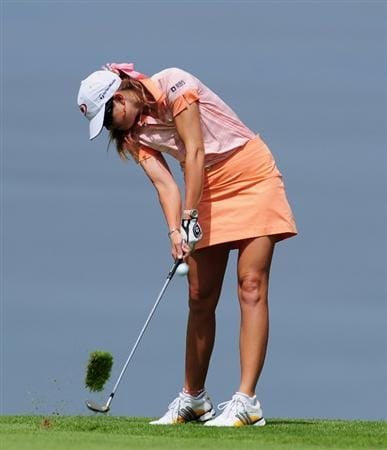 EVIAN-LES-BAINS, FRANCE - JULY 24:  Paula Creamer of USA plays her approach shot on the fifth hole during the second round of the Evian Masters at the Evian Masters Golf Club on July 24, 2009 in Evian-les-Bains, France.  (Photo by Stuart Franklin/Getty Images)