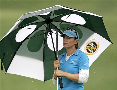 WILLIAMSBURG, VA - MAY 8: Annika Sorenstam of Sweden stands on the 18th green during the first round of the Michelob Ultra Open at Kingsmill Resort & Spa on May 8, 2008 in Williamsburg, Virginia. (Photo by Hunter Martin/Getty Images)