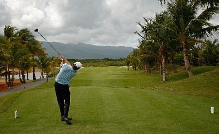 RIO GRANDE, PUERTO RICO - MARCH 20:  Brent Gelberger hits his tee shot on the 2nd hole during the first round of the Puerto Rico Open presented by Banco Popular held on March 20, 2008 at Coco Beach Golf & Country Club in Rio Grande, Puerto Rico.  (Photo by Mike Ehrmann/Getty Images)