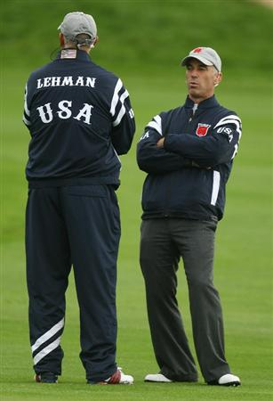 NEWPORT, WALES - OCTOBER 01:  USA Team Captain Corey Pavin chats with Vice Captain Tom Lehman during the Morning Fourball Matches during the 2010 Ryder Cup at the Celtic Manor Resort on October 1, 2010 in Newport, Wales.  (Photo by Ross Kinnaird/Getty Images)