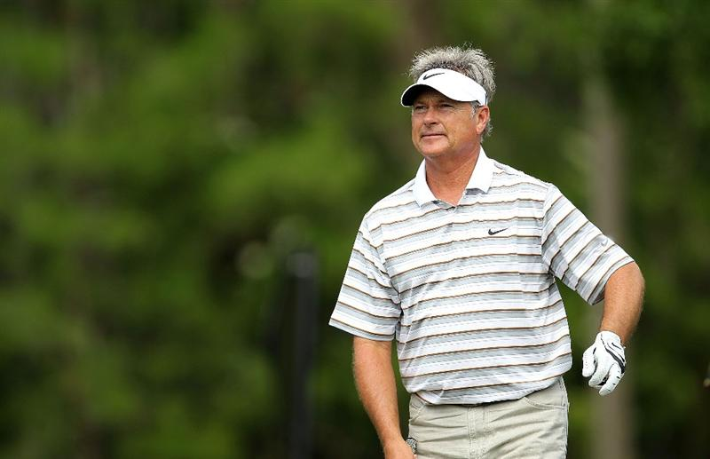 LUTZ, FL - APRIL 16:  John Cook hits his tee shot on the  12th hole during the second round of the Outback Steakhouse Pro-Am at the TPC of Tampa on April 16, 2011 in Lutz, Florida.  (Photo by Mike Ehrmann/Getty Images)