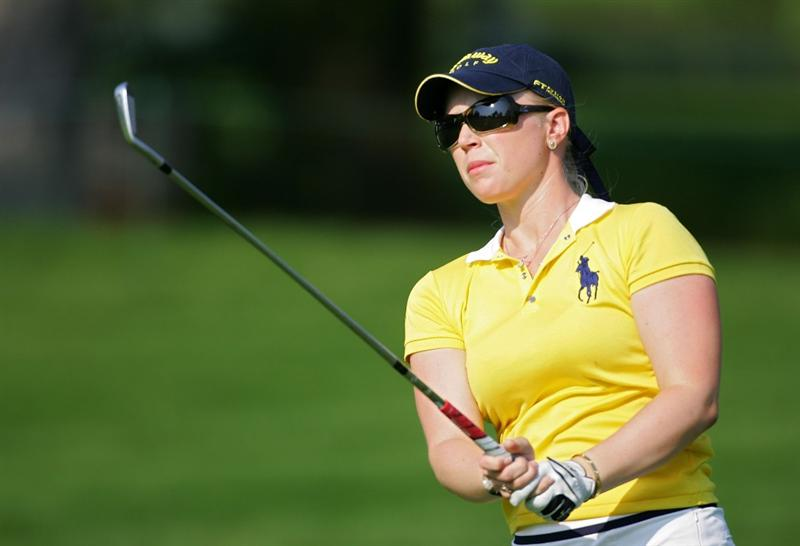 PITTSFORD, NY - JUNE 27: Morgan Pressel of the USA plays her second shot on the 18th hole during the third round of the Wegmans LPGA at Locust Hill Country Club held on June 27, 2009 in Pittsford, NY. (Photo by Michael Cohen/Getty Images)