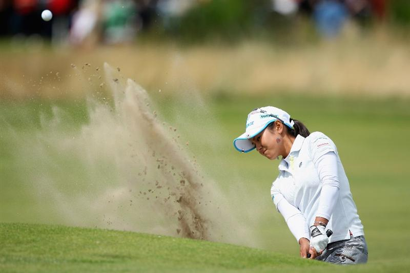 LYTHAM ST ANNES, UNITED KINGDOM - AUGUST 02:  Ai Miyazato of Japan hits her second shot on the 1st hole during the final round of the 2009 Ricoh Women's British Open Championship held at Royal Lytham St Annes Golf Club, on August 2, 2009 in Lytham St Annes, England. (Photo by David Cannon/Getty Images)