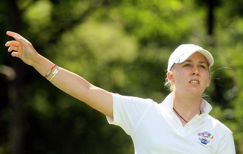 MANCHESTER, MA - JUNE 11:  Sally Watson of the Great Britain and Ireland team watches a shot during the Foursomes competition of the 2010 Curtis Cup Match at the Essex Country Club on June 11, 2010 in Manchester, Massachusetts. (Photo by Jim Rogash/Getty Images)