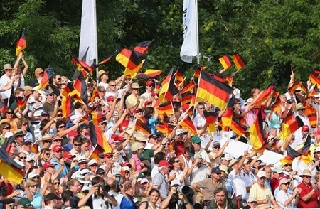 MUNICH, GERMANY - JUNE 22:  Fans wave their German flags on the 18th hole during the final round of The BMW International Open Golf at The Munich North Eichenried Golf Club on June 22, 2008, in Munich, Germany.  (Photo by Stuart Franklin/Getty Images)