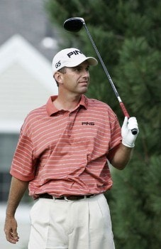 Kevin Sutherland watches as his ball heads for the left rough on the sixth hole during the second round of the Buick Championship at the Tournament Players Club at River Highlands in Cromwell, Connecticut on August 26, 2005.Photo by Michael Cohen/WireImage.com