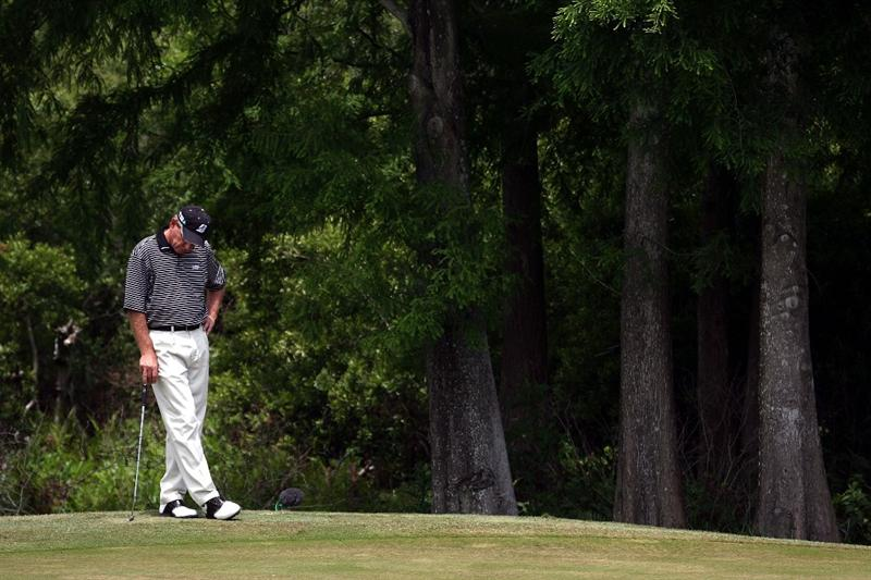 LUTZ, FL - APRIL 19:  Nick Price waits to putt on the 16th hole during the final round of the Outback Steakhouse Pro-Am at TPC Tampa Bay on April 19, 2009  in Lutz, Florida. (Photo by Marc Serota/Getty Images)