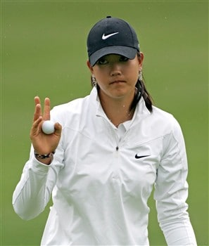 WILLIAMSBURG, VA - MAY 8: Michelle Wie acknowledges the gallery on the 9th hole during the first round of the Michelob Ultra Open at Kingsmill Resort & Spa on May 8, 2008 in Williamsburg, Virginia. (Photo by Hunter Martin/Getty Images)