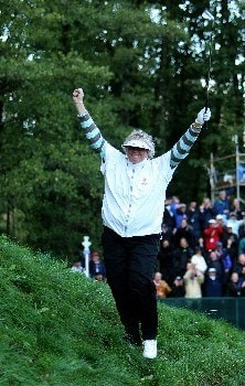 HALMSTAD, SWEDEN - SEPTEMBER 14:  Laura Davies of Europe celebrates making a par on the 16th hole during the afternoon fourball at the Solheim Cup at Halmstad Golf Club on September 14, 2007 in Halmstad, Sweden.  (Photo by Jonathan Ferrey/Getty Images)