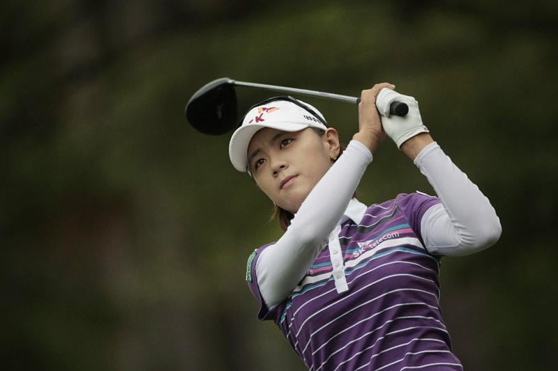 MOBILE, AL - MAY 16:  Na Yeon Choi of South Korea hits her drive on the third hole during final round play in the Bell Micro LPGA Classic at the Magnolia Grove Golf Course on May 16, 2010 in Mobile, Alabama.  (Photo by Dave Martin/Getty Images)