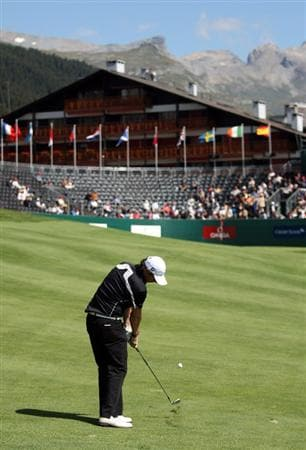 CRANS, SWITZERLAND - SEPTEMBER 05:  Rory McIlroy of Northern Ireland on the 18th fairway during the second round the Omega European Masters at the Golf Club Crans-sur-Sierre on September 5, 2008 in Crans, Switzerland.  (Photo by Ross Kinnaird/Getty Images)