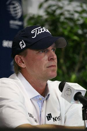 MARANA, AZ - FEBRUARY 16:  Steve Stricker address the media after the second practice round prior to the start of the Accenture Match Play Championship at the Ritz-Carlton Golf Club on February 16, 2010 in Marana, Arizona.  (Photo by Hunter Martin/Getty Images)