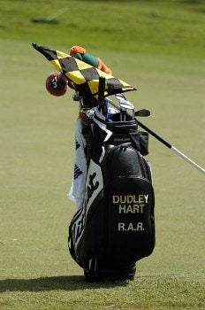Dudley Hart's golf bag stands near the ninth green during practice October 25, 2005 on the Copperhead Course for the 2005 Chrysler Championship in Palm Harbor, Florida.Photo by Al Messerschmidt/WireImage.com