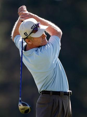 SUNRIVER, OR - AUGUST 22:  Mike Reid tees off on the 4th hole during the third round of the Jeld-Wen Tradition on August 22, 2009 at the Crosswater Club at Sunriver Resort in Sunriver, Oregon.  (Photo by Jonathan Ferrey/Getty Images)
