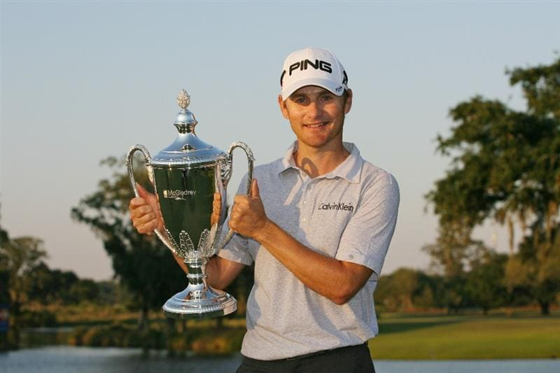 SEA ISLAND, GA - OCTOBER 10: Heath Slocum holds the championship trophy after winning the McGladrey Classic at Sea Island's Seaside Course on October 10, 2010 in Sea Island, Georgia. (Photo by Hunter Martin/Getty Images)