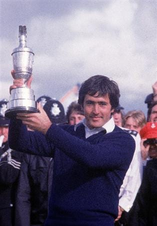 21 Jul 1979:  Seve Ballesteros of Spain holds aloft the Claret Jug after winning the British Open played at Royal Lytham St Annes in Lancashire, England. \ Mandatory Credit: Steve Powell /Allsport