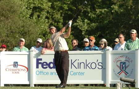 Wayne Levi hits from the 18th tee during the final round of the 2005 FedEx Kinko's Classic at the Hills Country Club in Austin, Texas May 1, 2005.Photo by Steve Grayson/WireImage.com