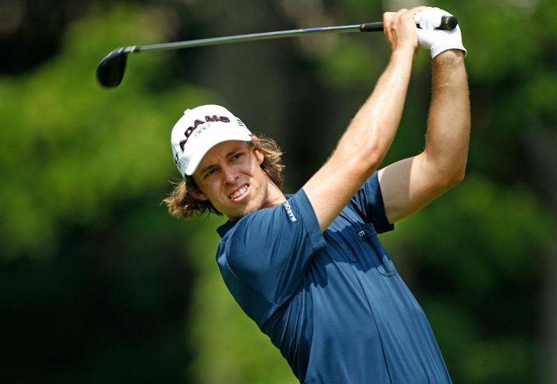 DUBLIN, OH - JUNE 04:  Aaron Baddeley of Australia hits a tee shot on the 18th hole during the second round of the Memorial Tournament presented by Morgan Stanley at Muirfield Village Golf Club on June 4, 2010 in Dublin, Ohio.  (Photo by Scott Halleran/Getty Images)