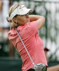Liselotte Neumann tees off on the first hole during the first round of the HSBC Women's World Match Play Championship at Hamilton Farm Golf Club in Gladstone, New Jersey on Thursday, July 6, 2006.Photo by Richard Schultz/WireImage.com
