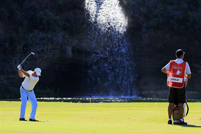 MARBELLA, SPAIN - OCTOBER 17:  John Gould of England in action during the final round of the Benahavis Senior Masters played at La Quinta Golf & Country Club on October 17, 2010 in Marbella, Spain.  (Photo by Phil Inglis/Getty Images)