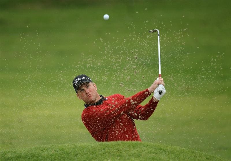 PACIFIC PALISADES, CA - FEBRUARY 18:  Robert Karlsson of Sweden hits out of a bunker on the 15th hole during round two of the Northern Trust Open at Riviera Country Club on February 18, 2011 in Pacific Palisades, California.  (Photo by Stephen Dunn/Getty Images)