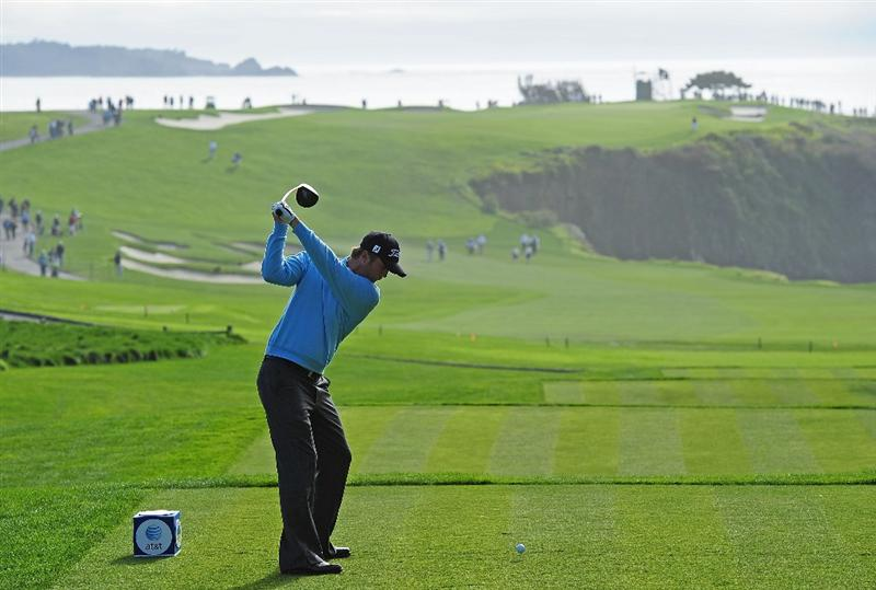 PEBBLE BEACH, CA - FEBRUARY 12:  Matt Jones of Australia plays a shot on the sixth hole during round two of the AT&T Pebble Beach National Pro-Am at Pebble Beach Golf Links on February 12, 2010 in Pebble Beach, California.  (Photo by Stuart Franklin/Getty Images)
