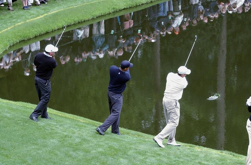 Tiger Woods, Mark O'Meara and John Cook