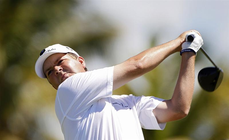 RIO GRANDE, PR - MARCH 12:  Hunter Haas hits his drive on the 12th hole during the third round of the Puerto Rico Open presented by seepuertorico.com at Trump International Golf Club on March 12, 2011 in Rio Grande, Puerto Rico.  (Photo by Michael Cohen/Getty Images)